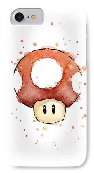 Red Mushroom Watercolor IPhone Case by Olga Shvartsur