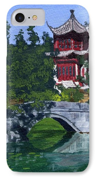 IPhone Case featuring the painting Red Pagoda by Lynne Reichhart