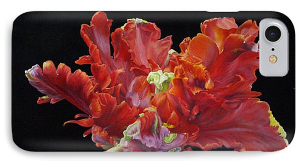 Red Parrot Tulip - Oils IPhone Case by Roena King