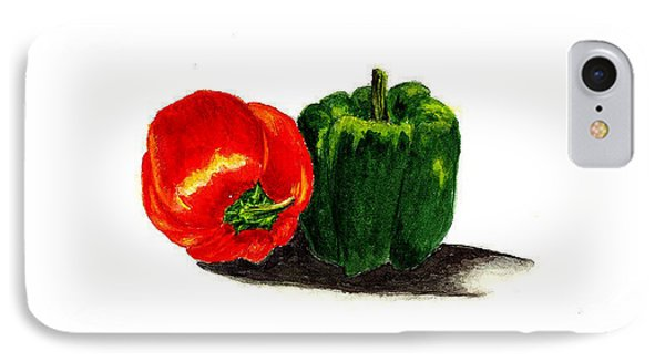 Red Pepper And Green Pepper Phone Case by Michael Vigliotti
