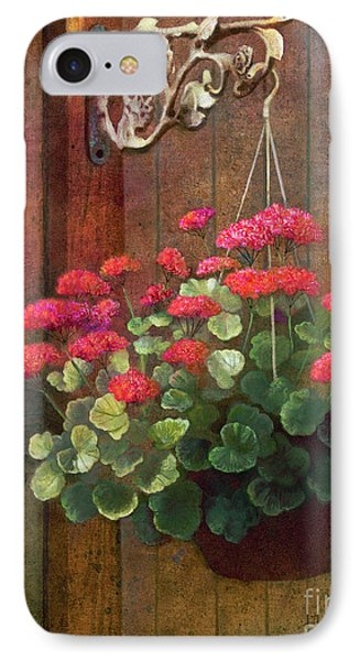 IPhone Case featuring the painting Red Petals Geraniums by Nancy Lee Moran