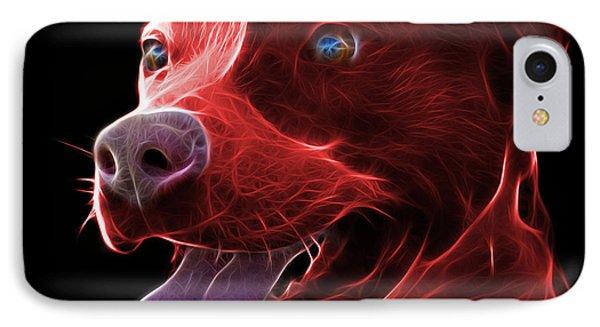 Red Pit Bull Fractal Pop Art - 7773 - F - Bb IPhone Case by James Ahn
