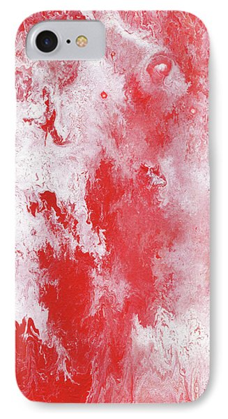 Red Plume, Abstract Acrylic Painting IPhone Case by Cara Bevan