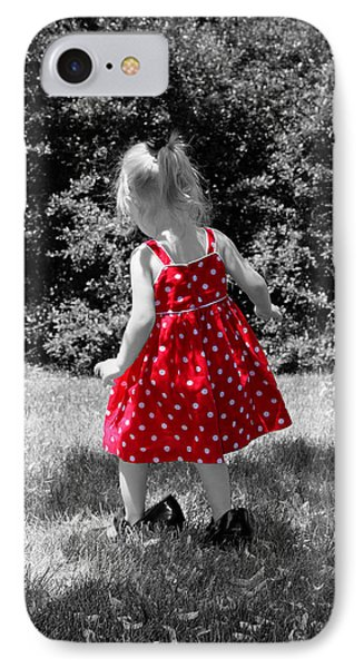 Red Polka Dot Dress And Mommy's Shoes IPhone Case by Tracie Kaska