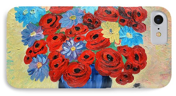 Red Poppies And All Kinds Of Daisies  IPhone Case by Ramona Matei