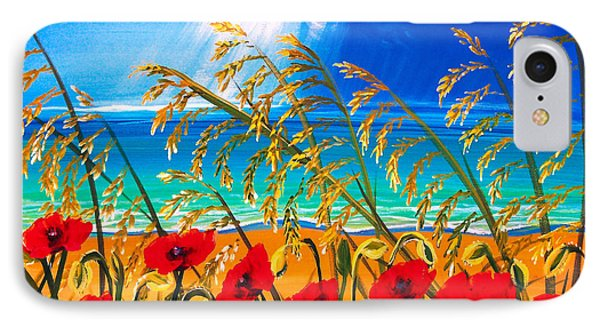 Red Poppies And Sea Oats By The Sea IPhone Case by Patricia L Davidson