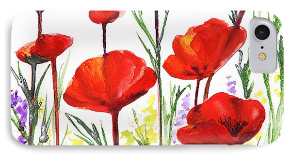 IPhone 7 Case featuring the painting Red Poppies Art By Irina Sztukowski by Irina Sztukowski