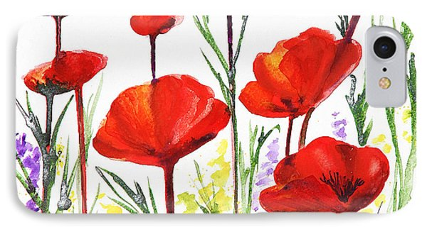 Red Poppies Art By Irina Sztukowski IPhone Case by Irina Sztukowski