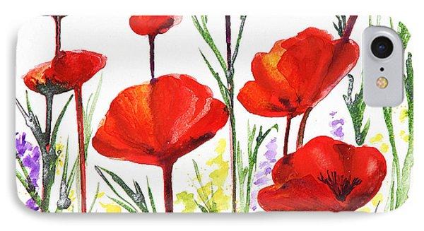 IPhone Case featuring the painting Red Poppies Art By Irina Sztukowski by Irina Sztukowski