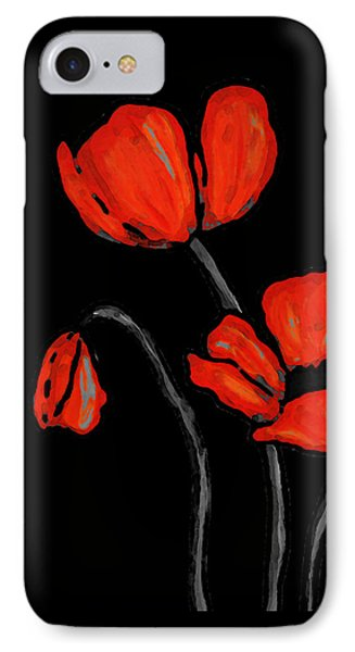 Red Poppies On Black By Sharon Cummings IPhone Case by Sharon Cummings