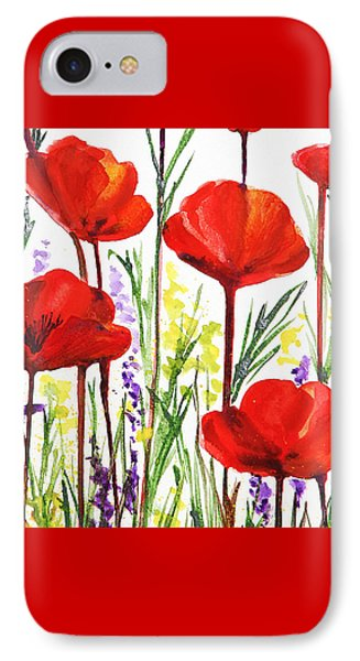 IPhone 7 Case featuring the painting Red Poppies Watercolor By Irina Sztukowski by Irina Sztukowski