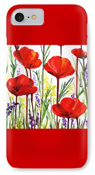 Red Poppies Watercolor By Irina Sztukowski IPhone Case by Irina Sztukowski