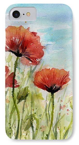 Red Poppies Watercolor IPhone Case by Olga Shvartsur