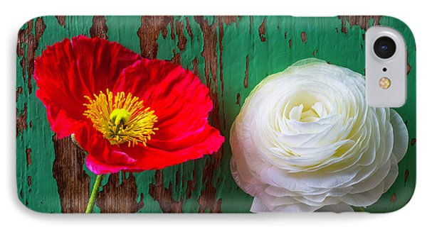 Red Poppy And White Ranunculus IPhone Case by Garry Gay