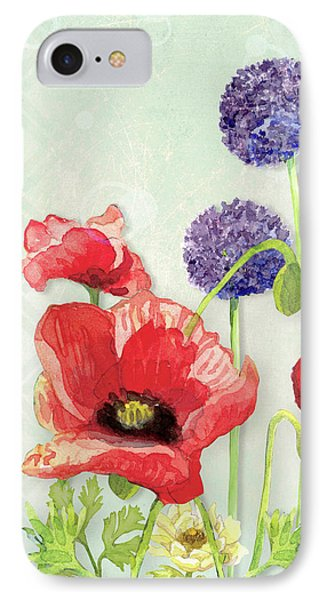 Red Poppy Purple Allium IIi - Retro Modern Patterns IPhone Case