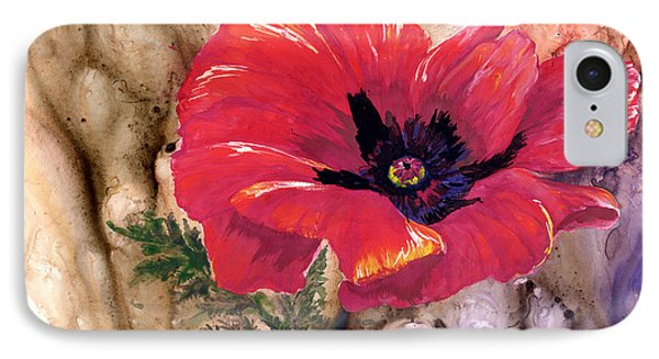 IPhone Case featuring the painting Red Poppy by Sherry Shipley