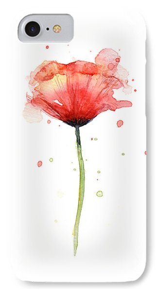 Red Poppy Watercolor IPhone Case by Olga Shvartsur