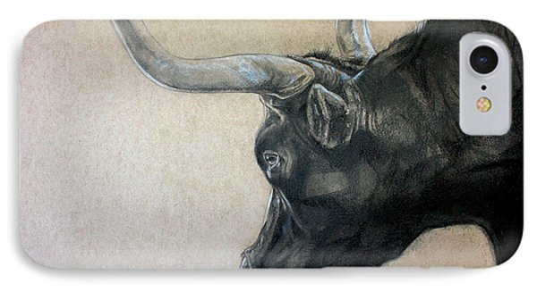 Red Rock Canyon Bull IPhone Case by Derrick Higgins