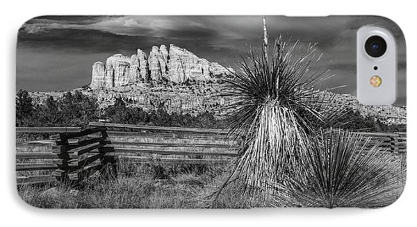 IPhone Case featuring the photograph Red Rock Formation In Sedona Arizona In Black And White by Randall Nyhof