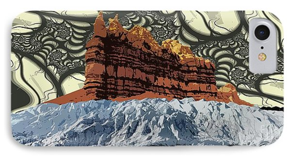 Red Rock White Ice Phone Case by Ron Bissett