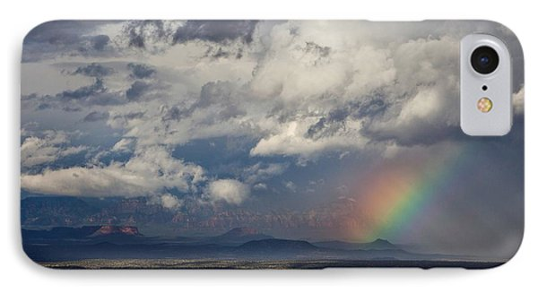 IPhone Case featuring the photograph Red Rocks Rain And Rainbow by Ron Chilston