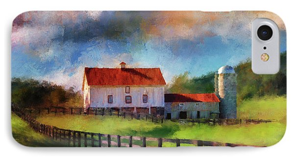 IPhone Case featuring the digital art Red Roof Barn by Lois Bryan