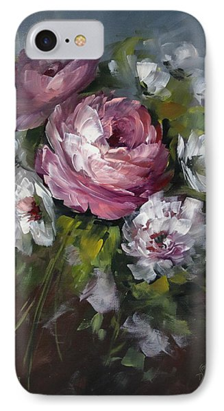 Red Rose And White Peony Phone Case by David Jansen