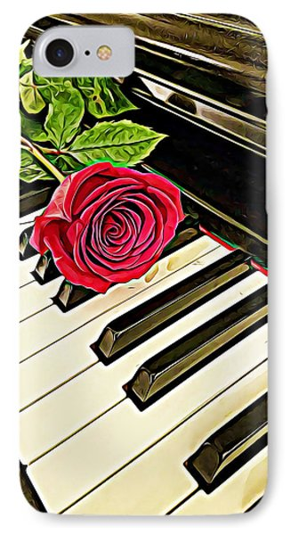 Red Rose On A Piano  IPhone Case