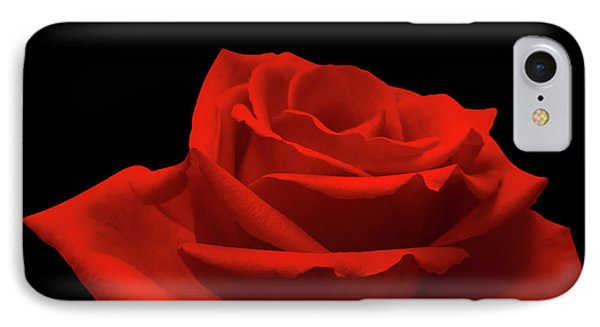 Red Rose On Black IPhone Case by Wim Lanclus