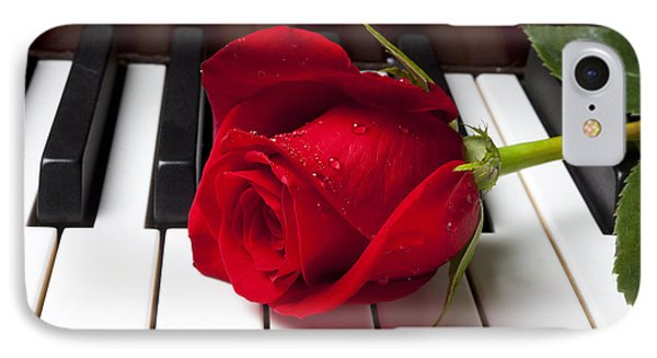 Flowers iPhone 7 Case - Red Rose On Piano Keys by Garry Gay