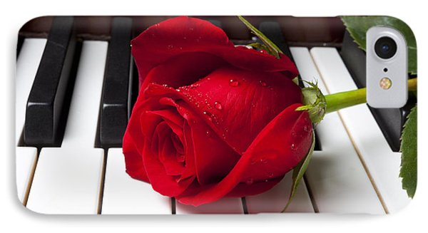Red Rose On Piano Keys IPhone 7 Case by Garry Gay
