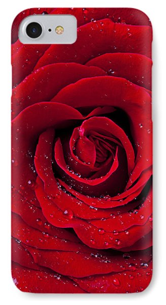 Red Rose With Dew Phone Case by Garry Gay