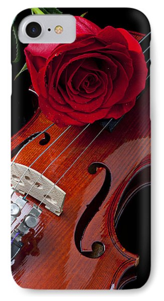 Red Rose With Violin IPhone Case by Garry Gay