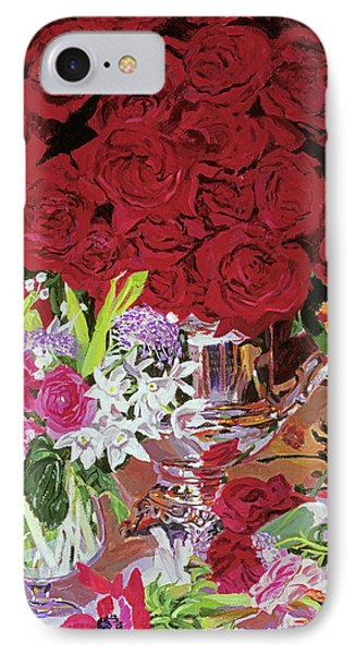 Red Roses In Silver IPhone Case by David Lloyd Glover
