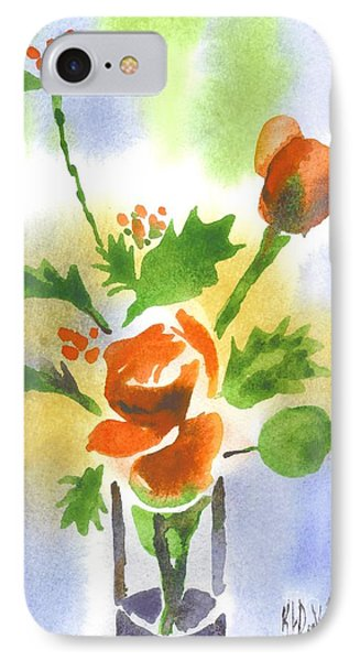 IPhone Case featuring the painting Red Roses With Holly by Kip DeVore