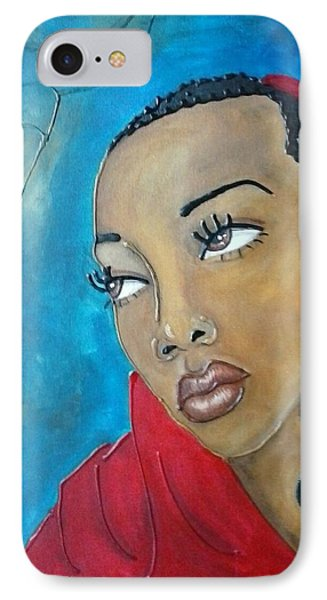 Red Scarf Phone Case by Jenny Pickens