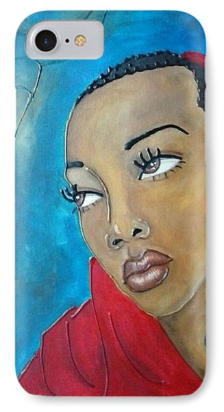 Red Scarf IPhone Case by Jenny Pickens