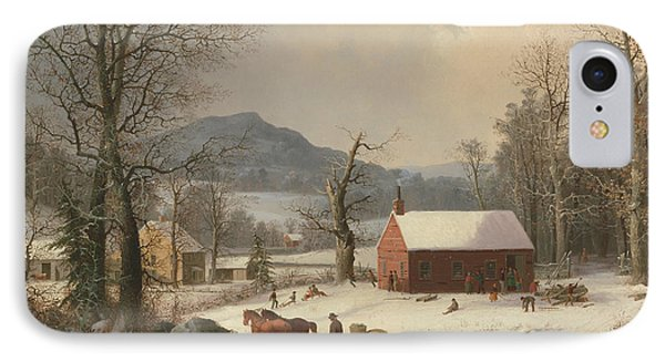 Red School House  IPhone Case by George Henry Durrie