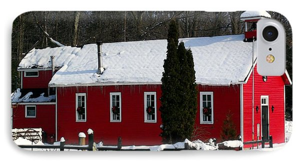 Red Schoolhouse At Christmas IPhone Case