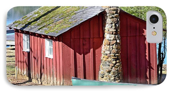 Red Shed And Canoe IPhone Case by Susan Leggett