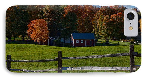 Red Sheds And Orange Fall Foliage IPhone Case