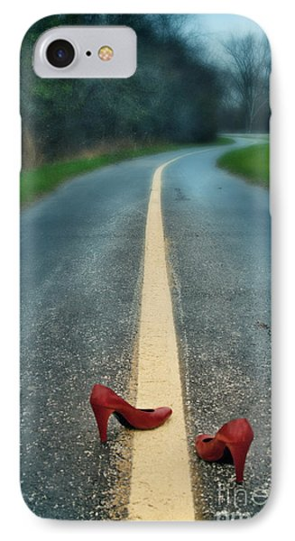 Red Shoes On Road IPhone Case by Jill Battaglia