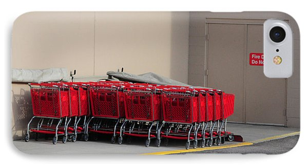 Red Shopping Carts In A Row Phone Case by Merrimon Crawford