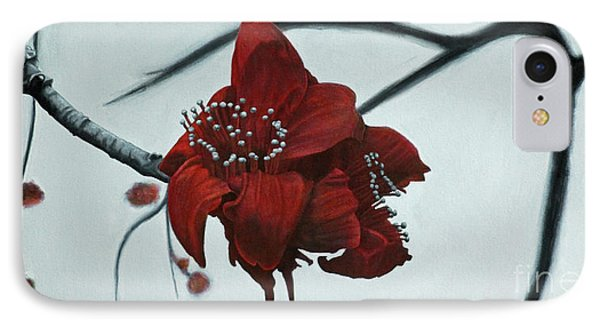 Red Silk Cotton Flower Phone Case by Jennifer Watson