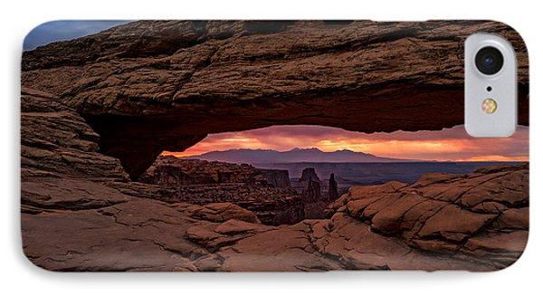 Red Skies At Mesa Arch IPhone Case by Rick Berk