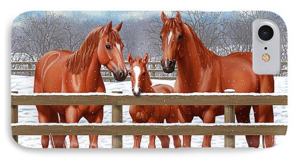 Red Sorrel Quarter Horses In Snow IPhone Case