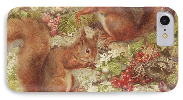 Red Squirrels Gathering Fruits And Nuts IPhone Case by Rosa Jameson