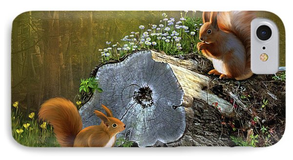 IPhone Case featuring the digital art Red Squirrels by Thanh Thuy Nguyen