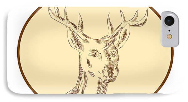 Red Stag Deer Head Circle Etching IPhone Case by Aloysius Patrimonio