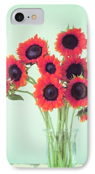 Sunflower iPhone 7 Case - Red Sunflowers by Amy Tyler